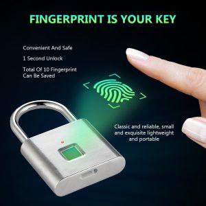 Golden Security Keyless USB Rechargeable Door Lock Fingerprint Smart Padlock Quick