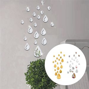 20pcs/set Acrylic Raindrop Mirror Sticker Wall Art