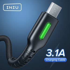 Micro USB Cable LED INIU 3.1A Mobile Phone Charger Type C Fast Charging Data Cord