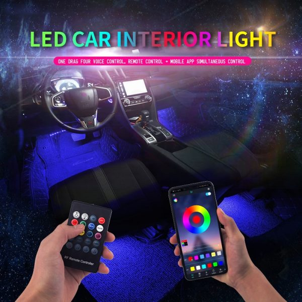 Led Car Foot Ambient Light With USB Cigarette Lighter Backlight Music Control App RGB