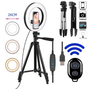 Photo Ringlight Led Selfie 26cm Ring Light Phone Bluetooth Remote Lamp Photography