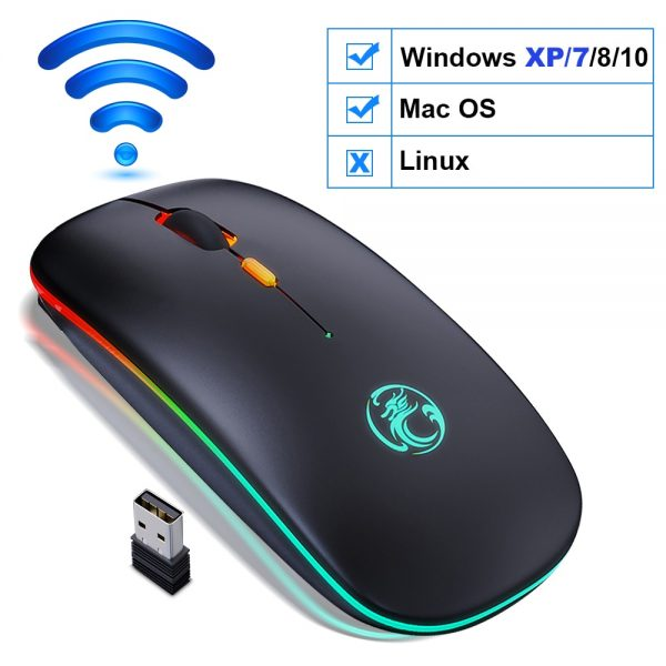Wireless Mouse Bluetooth RGB Rechargeable Mouse Wireless Computer Silent Mause LED