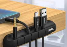 TOPK Cable Organizer Silicone USB Cable Winder Desktop Tidy Management