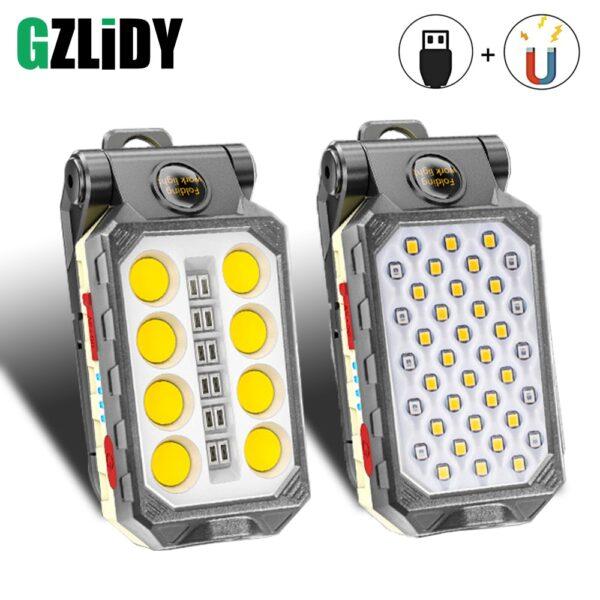 USB Rechargeable COB Work Light Portable LED Flashlight Adjustable Waterproof
