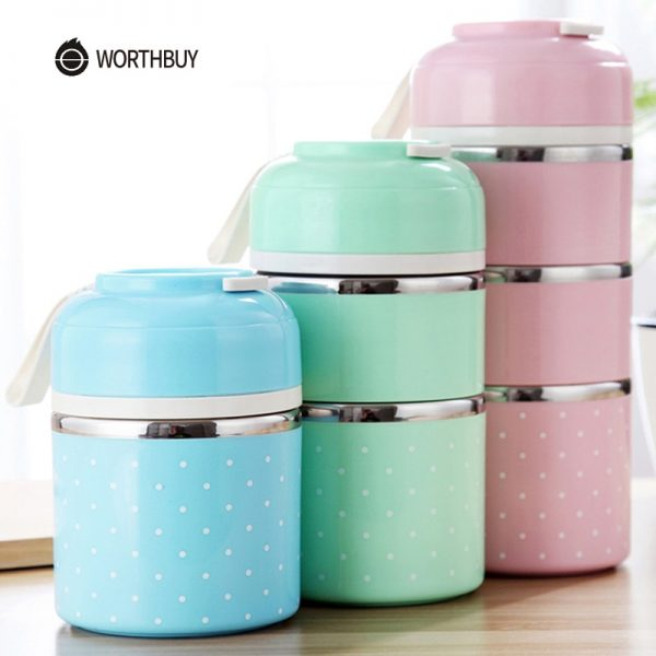 WORTHBUY Cute Japanese Lunch Box For Kids Portable Outdoor Stainless Steel Bento Box