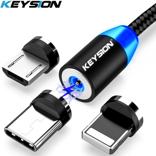 KEYSION LED Magnetic USB Cable Fast Charging Type C Cable Magnet Charger Data Charge Micro USB Cable Mobile Phone Cable USB Cord