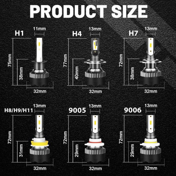 BULLVISION H11 H4 H7 Led 12V Mini 9005 9006 Headlights Lamp 20000Lm High Brightness H8 H9 Hb3 Hb4 Led Car Lights Bulbs Turbo Csp