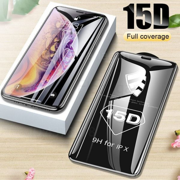 15D Protective Glass on the For iPhone 6 7 8 plus XR X XS glass full cover iPhone 11 12 Pro Max Screen Protector Tempered Glass