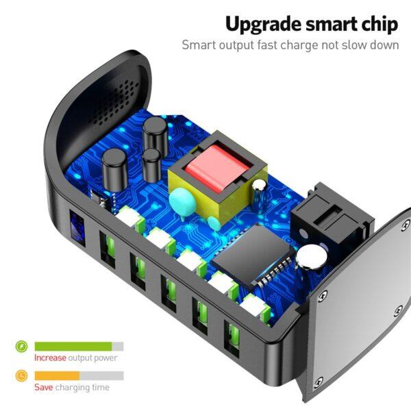 USLION 5 Port USB Charger HUB LED Display Multi USB Charging Station Dock Universal