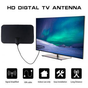Kebidumei 4K 25DB High Gain HD TV DTV Box Digital TV Antenna EU Plug (Black)
