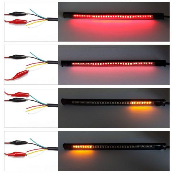 CO LIGHT Universal Led Strip 48Leds Flexible Stop Running Light DC 12V Motorcycle Turn