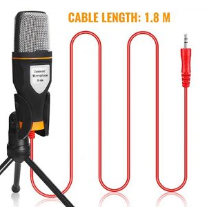 Condenser Microphone 3.5mm Plug Home Stereo MIC Desktop Tripod for PC YouTube