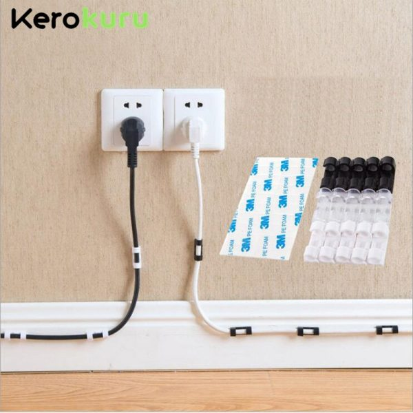 Cable Organizer Clips Cable Management Desktop & Workstation ABS Wire Manager Cord