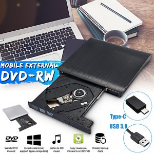External USB 3.0 Type-C High Speed DL DVD RW Burner CD Writer Slim Optical Drive