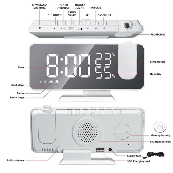 FM Radio LED Digital Smart Alarm Clock Watch Table Electronic Desktop Clocks USB