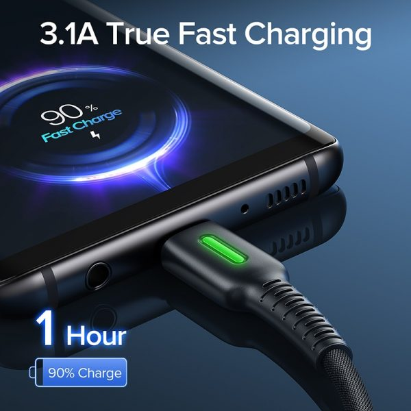 INIU 3.1A Micro USB Cable LED Mobile Phone Charger Type C Fast Charging Data Cord