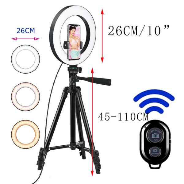 26cm Photo Ringlight Led Selfie Ring Light Phone Bluetooth Remote Lamp Photography
