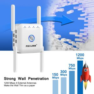 WiFi Repeater WiFi Amplifier 5Ghz WiFi Long Range Extender 1200M Wireless Wi Fi