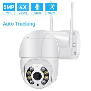 5MP Mini PTZ Wifi Camera H.265 Auto Tracking ONVIF Wireless IP Camera 4xDigital Zoom