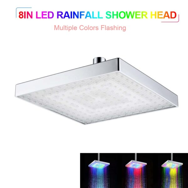 2020 New LED Rainfall Shower Head Square Shower Head Automatically RGB Color-Changing