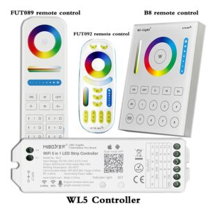 led strip controller WL5 wifi 5 in 1 for RGBW RGB+CCT led strip;2.4G HZ remote:FUT092,8