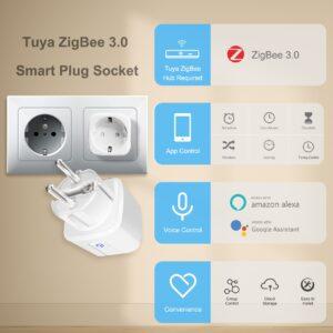 Tuya ZigBee 3.0 Smart Power Plug 16A Wireless App Voice Remote Control Socket Energy