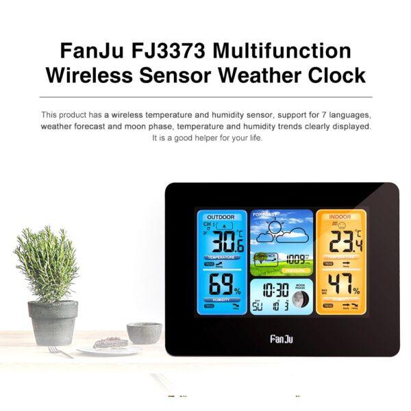 FJ3373 Multifunction Digital Weather Station LCD Alarm Clock Indoor Outdoor Weather