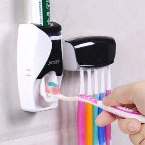 Toothpaste Dispenser Automatic Wall Mount Dust-proof Toothbrush